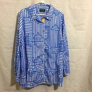 Bob Mackie Wearable Art Button Front Shirt 2X